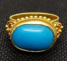 Wonderful Antique 20k Gold Ring With Beautiful Persian Nishapur Turquoise Stone