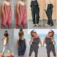 Cute Kids Baby Girls Casual Strappy Romper Jumpsuit Harem Pants Clothes Outfits