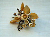 Antique vintage 3D celluloid flower brooch pin