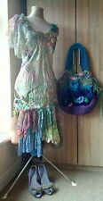 Bohemian ethereal vintage shabby chic wedding peacock dress shoes bag 8 10 12