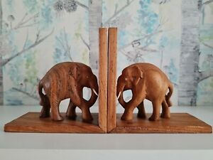 Wooden Elephant Book Ends