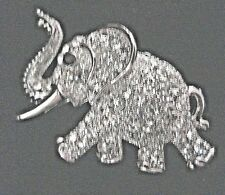 Clear Austrian Crystals Trunk Up New Elephant Pin Silver Plate With Multiple