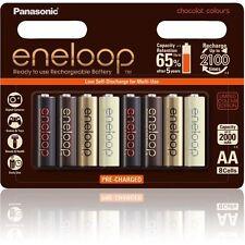 Panasonic eneloop Chocolat Colours 8xAA Rechargeable NiMH LSD Batteries Oz Stock