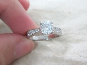 925 STAMPED - REAL Sterling Silver Round Solitaire & Accents Engagement RING
