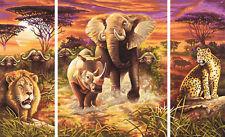 Afrika - Die großen Fünf Schipper Triptychon Malen nach Zahlen