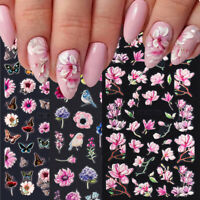 1 Sheet 5D Embossed Flowers Nail Stickers With Textured 3D Self Adhesive Decals