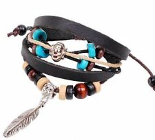 NEW Feather Charm Wristband Bracelet Cord Surfer Faux Leather Braided Hemp Rope