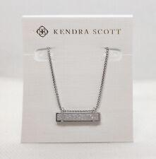New Kendra Scott Leanor Pendant Necklace In Iridescent Drusy / Matte Silver