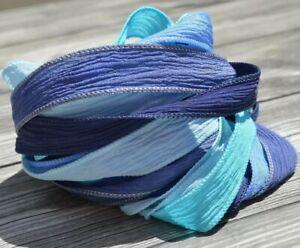 Blue Assortment Crinkle Silk Ribbons, Hand Dyed Silk Wrap Bracelet DIY Supplies