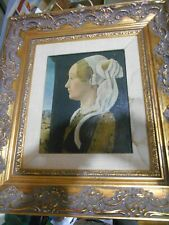 VINTAGE 18X16 LADY WITH SCARF PEARL NECKLACE OIL ON CANVAS ORNATE FRAME