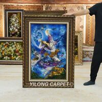 YILONG 1.9'x3' Handknotted Wool Silk Carpet Mystic Art Collection Tapestry GT003