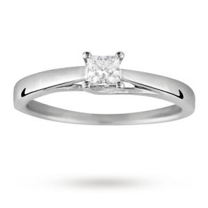 Canadian Ice Diamond Ring 0.25 Carats Goldsmiths 18 Carat White Gold Sz J 2.9g