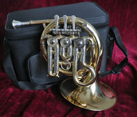 Top Engraving Bb Mini Gold Lacq. French horn Portable new FREE mouthpiece