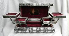 Large Embossed Indian Style Silver Metal Locking Jewellery Box - BNIB