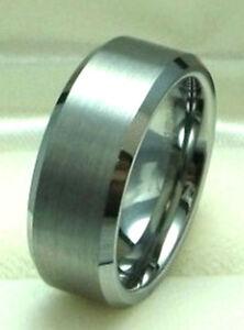 Men 8mm Titanium ring Satin Finished Wedding Band Size 8.5