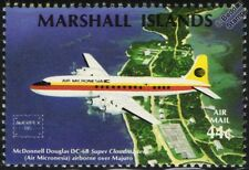DOUGLAS DC-6B Super Cloudmaster Aircraft Mint Stamp (1986 Marshall Islands)