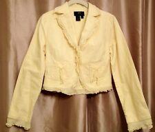 EUC! TRUE MEANING Linen Blend Pale Yellow Ruffle Jacket Blazer Size 6