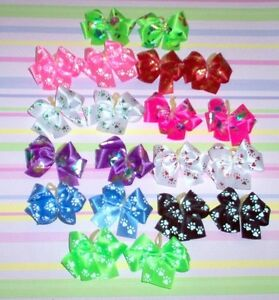 Dog Grooming Bows Double Looped Paw Print Dog Bows Yorkie Poodle Shih tzu USA