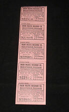 ANTIQUE RAILROAD TICKET STUB UNION PACIFIC UP RR REGISTERED PACKAGE TAG