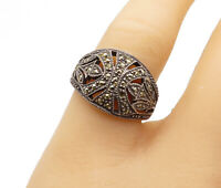 925 Sterling Silver - Vintage Marcasite Decorated Floral Band Ring Sz 8 - R14841