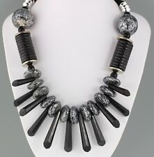 VINTAGE 60'S BLACK & SILVER TONE PLASTIC BEAD DROP BIB COLLAR NECKLACE