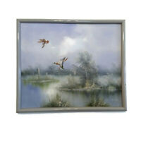 E. Max Oil Painting Original Framed Art Signed Ducks Flying Over Water Mallards