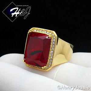 MEN's Stainless Steel BLING CZ Gold Ruby Ring Size 6-13*GR98