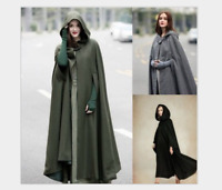 Women's Hooded Coat Long Cape Cardigan Outwear Open Front Jacket Oversized New