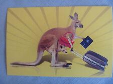 POSTCARD....AUSTRALIAN PASSPORT..KANGAROO & JOEY...TRAVEL BAGS..ePASSPORT