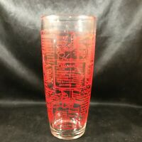 Vintage IRVINWARE Clear Glass Red Print 24 oz Bartenders Recipe Glass