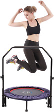 PLENY Indoor Mini Fitness Trampoline with Handle, 2-in-1 Lean Aerobic Exercise -