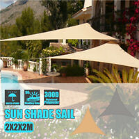2x2x2m Waterproof Shade Sail Awning Cloth Triangle Sand Sun Canopy UV