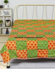 Indian 100% Cotton Patchwork Blanket 58x86In. Green Orange Bedding Blanket Throw