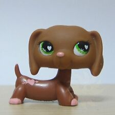 Littlest Pet Shop Collection LPS #556 Green Eyes Brown Daschund Dog Toy B1