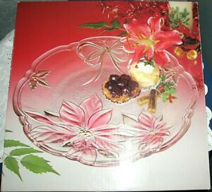 NEW!  Christmas Serving Dish CRYSTAL POINSETTIA HOLLY BOW PLATTER  Savoir Vivre
