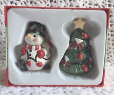 "Fitz & Floyd ""Cheers"" Salt & Pepper Shaker Snowman Martini Christmas Tree"
