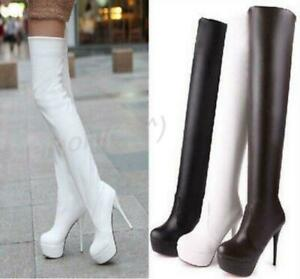 Platform Sexy Thigh High Womens Stiletto Heel Zip Pull on Over Knee Boots Shoes