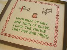 VINTAGE THINGS POP MADE COUNTED CROSS STITCH EMBROIDERY PICTURE COMPLETED FRAMED