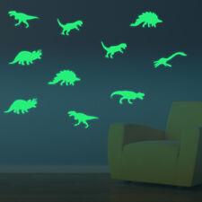 Dinosaurier 9er Set Aufkleber nachts leuchtend Deko Dino Sticker fluoreszierend