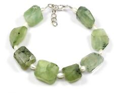 "Natural Prehnite & Pearl Bracelet 9""+1"" Gemstone Armband Jewelry Ct 265 Gift Usa"
