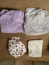Pottery Barn Kids Luxe Chamois Lavender & Grey Crib Sheets + 2 Extras Lot Of 4