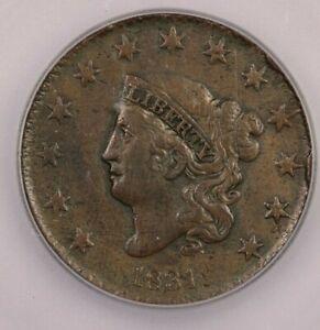 1831 Coronet Head Large Cent ICG VF30 Details N-2 Medium Letters