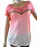 MISS ME Women's Coral Pink Lace Beaded Casual Short Sleeve Knit Top T-Shirt