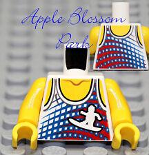 NEW Lego Girl Boy Surfer WHITE MINIFIG TORSO Red Blue Surf Board Tank Top Shirt
