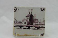 Antique 18th Century Dutch Sepia Tone Ceramic Tile