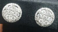1.50CT NATURAL  ROUND DIAMOND CLUSTER HALO FANCY STUDS IN 14K GOLD