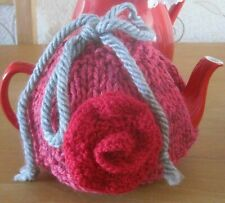 HAND KNITTED ENGLISH GARDEN ROSE TEA COSY. FITS A ONE PINT TEAPOT. LOVE.