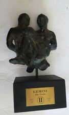 Vintage Gemini The Twins Sculpture Bronze Tone Ceramic Wood Base