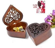 Heart Carving Wood Wind Up Music Box  : ELFEN LIED - LILIUM