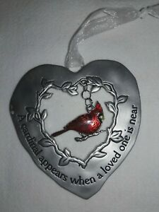"""NEW GANZ HEART ORNAMENT w CARDINAL """"A Cardinal Appears When A Loved One is Near"""""""